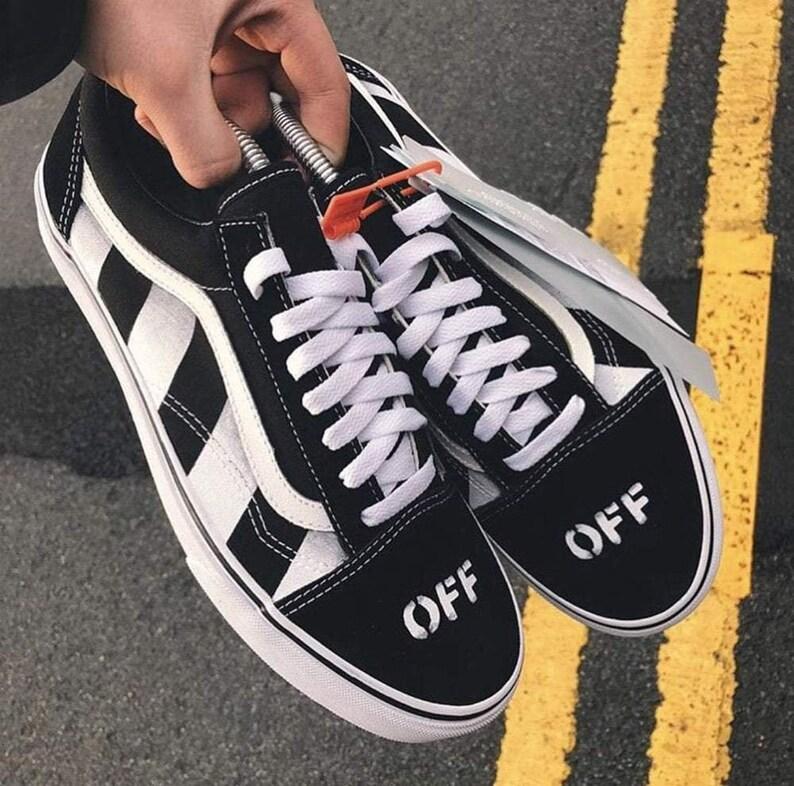 ef2f3041801ca Off Black Custom Vans, vans customs, painted shoes, old skool vans,  embroidered Vans, custom vans