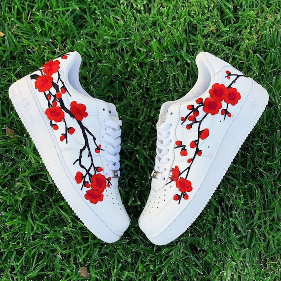 Custom Air force 1, Nike Air force 1, Air Force 1, Nike Shoes, Nike Custom , Custom Nike, Custom Sneakers, Custom Shoes, Red Cherry Blossom