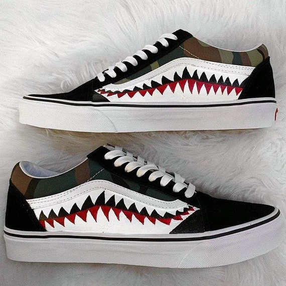 fac99d66644c2f Bape Vans bathing ape vans old skool bape shark shark