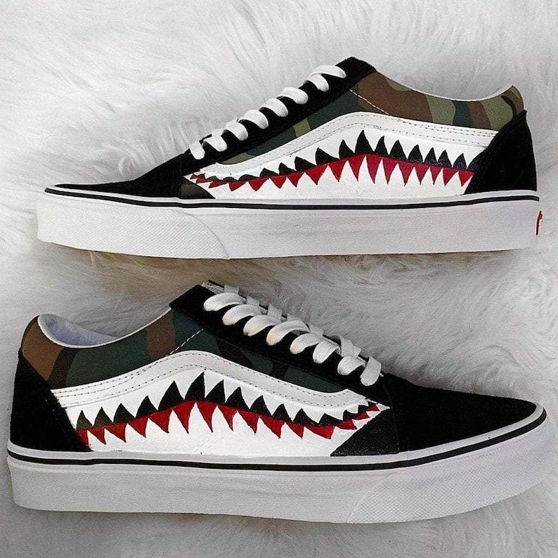 9209010f3d171 Bape Vans, bathing ape, vans old skool, bape shark, shark teeth vans,  custom bape vans, painted vans, custom vans shoes, custom shoes, bape