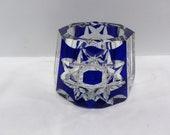 Vintage Mid Century Modern Blue Cut Crystal Small Ashtray