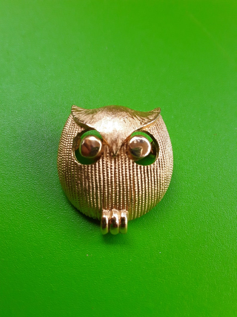 Vintage Crown Trifari Owl Figurine Brooch, Collectible, signed by designer