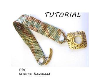 Bronze/Patina Peyote Bracelet/Step-by-step beading pattern / Tutorial / Pdf beading pattern