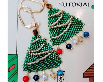 Christmas Tree with Garland Earrings/Step-by-step beading pattern / Tutorial / Pdf beading pattern