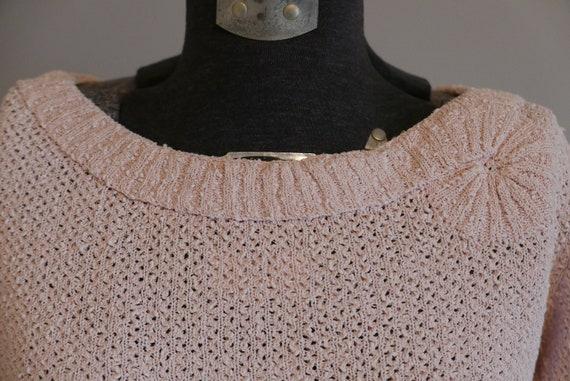 Vintage pink linen/rayon knit dress 50s 60s