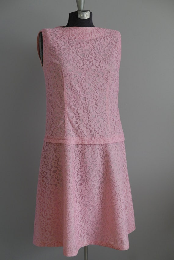 Pink Lace Dress Simple Short Sleeve Pleated Skirt 60/'s 70/'s Knit Size Medium M