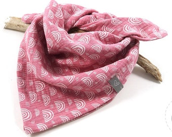 Musselin towel, mull cloth, scarf for children and babies, size 50 x 50 cm, pink with white rainbows, also as a birthday gift