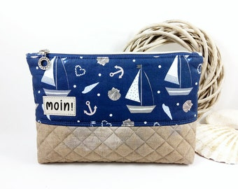 Cosmetic bag, make-up bag, toiletge bag in maritime look, blue and beige with anchors, ships, hearts