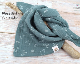 Muslin cloth, gauze cloth, scarf for children and babies, size 50 x 50 cm, green with small forest animals and rainbow label