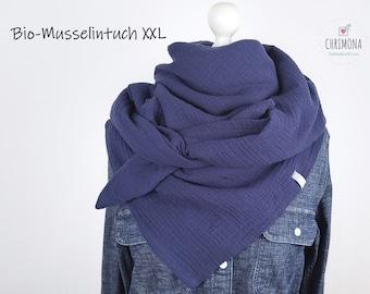 Muslintotuch, muslin scarf XXL for women, children, babies - made of soft organic muslin in dark blue