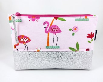 "Cosmetic bag ""KESSY"" glitter and flamingos"