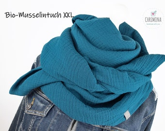 Organic muslin cloth, muslin scarf XXL for women, children, babies - made of soft organic muslin in teal