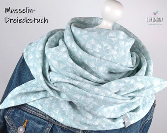 Musselin towel, muslin scarf, XXL triangle scarf for women and girls - smooth muslin in mint with white ginkgo leaves