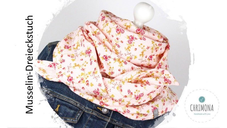 Musselin towel muslin scarf triangle scarf for ladies and image 0