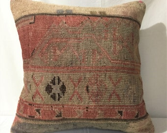 10 x 34 Turkish Muted Pillow Cover Bedding Floral Oushak Rug Pillow