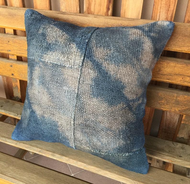Navy Blue Livingroom Decorative Handmade Vintage Turkish Kilim Hemp Pillow,20x20 Modern Handmade Tribal Denim Hemp Cushion,Hemp Pillow,1274