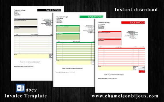 Simple Template Invoice Word Template Editable Invoice Commercial Receipt Business Invoice Template Printable Invoice Template Sales