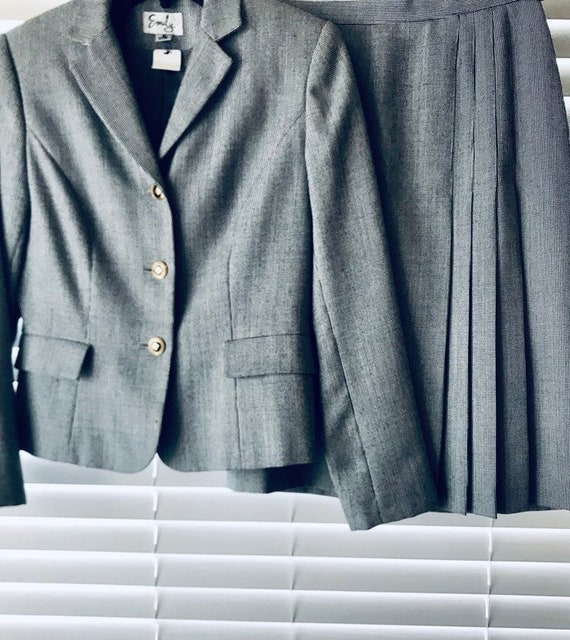 90s Women's Work Suit, Gray Blazer and Skirt set,