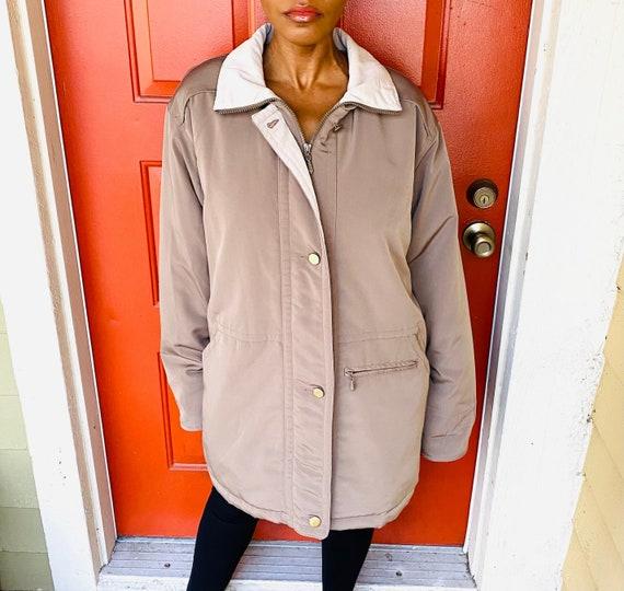 80s Olive Taupe Parka Coat 80s Vintage Removable H