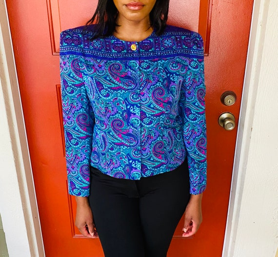 80s Vintage Maggy London Paisley Print Silk Blouse
