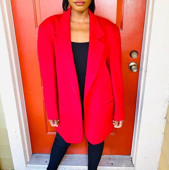 80s L.L. Bean Red Wool Oversized Blazer 80s Vintag