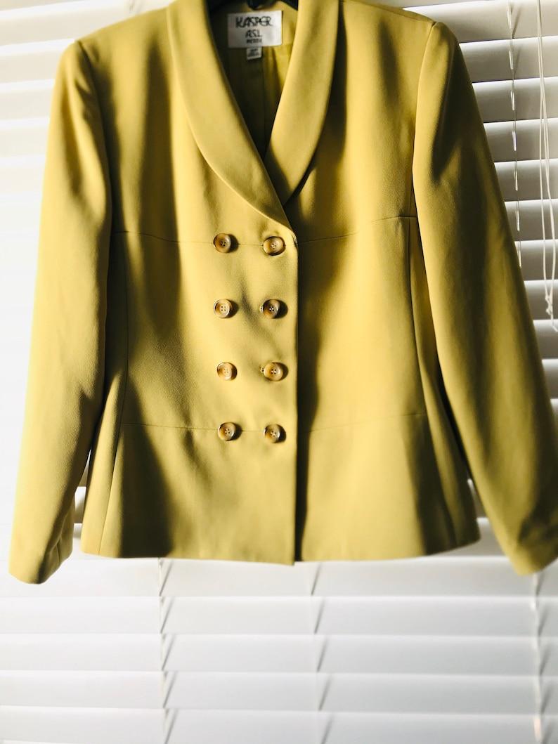 Vintage Suits and Jackets Kasper Womens Blazer Kasper Green Blazer Size 6 Petite 80s Vintage Green Suit Jacket