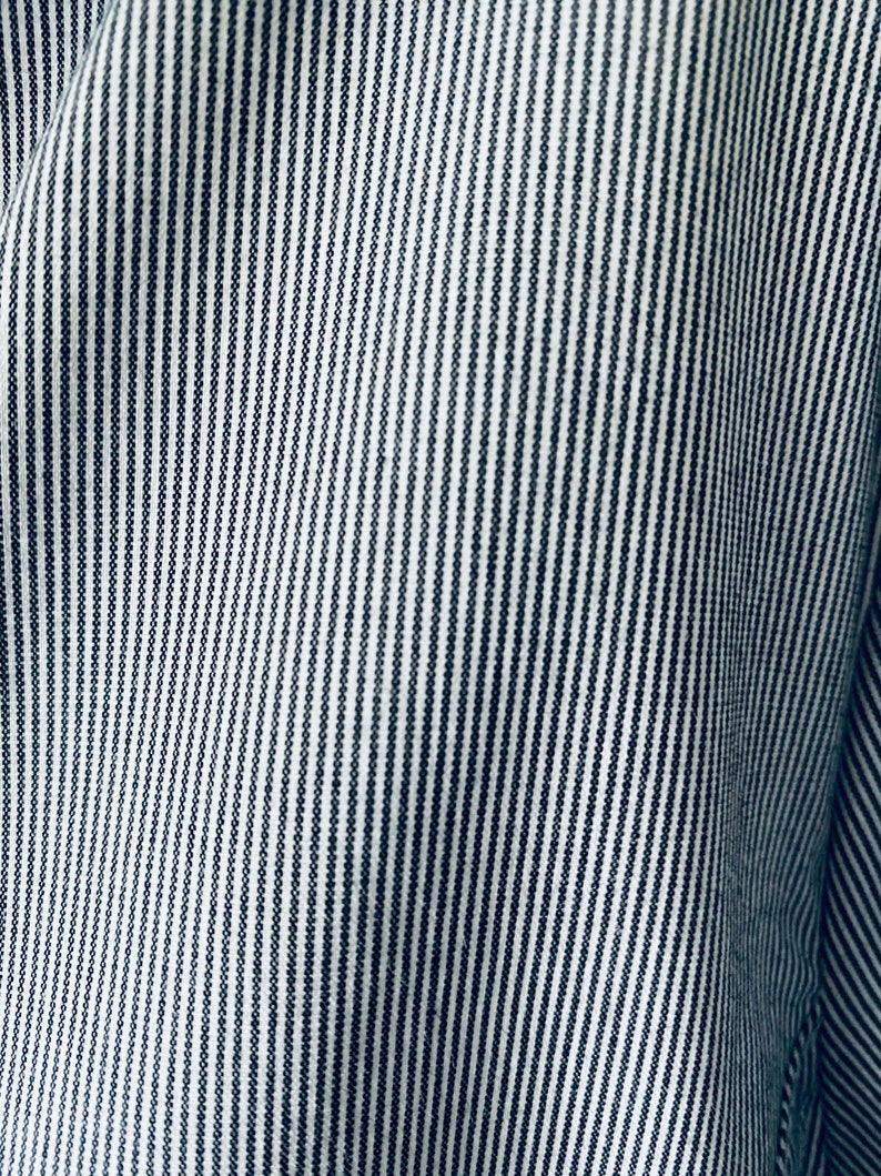 90s Pinstripe Cotton Blend Career Button Down Top