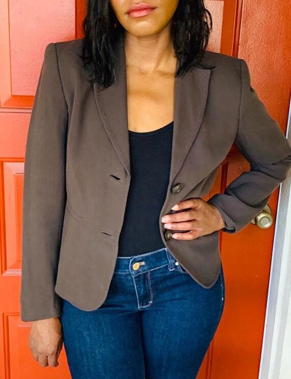 90s Ann Taylor Brown Blazer Brown Jacket Size 4 Womens Work Wear Vintage Ann Taylor