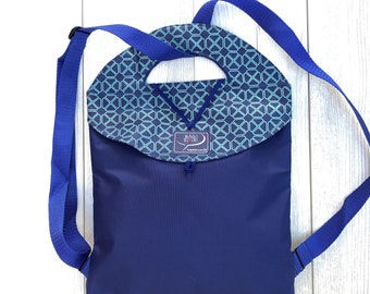MINI convertible backpack foldable waterproof canvas with inner clutch - blue fabric - turquoise diamond pattern