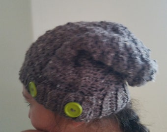9119beeaf97 Earth Neutral slouch beanie with buttons