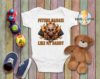 20b62bc6 Future Badass Like My Daddy Funny Baby Onesie, Biker Baby Onesie, Daddy's  New Riding Buddy, Future Biker Onesie