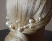 Pearl hair pins set of 10, Bridal ivory bobby hair pins, Wedding pearl headpiece, Pearls hair accessories, Gold hair pins