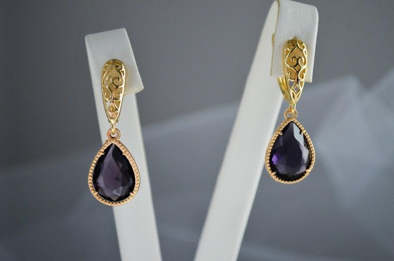 Wedding teardrops earrings Deep Purple Crystal drop earrings Bridesmaid jewelry Gold color earrings,Bridesmaids crystal earrings