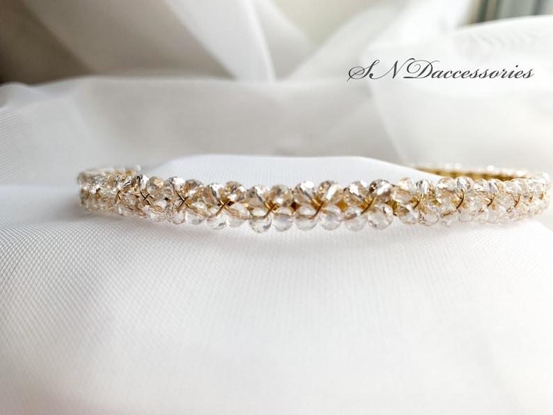 Gold Clear hair tiara Bridal shower headband Girls Crystal headpiece Bridesmaids headpiece Wedding hair crown Crystal bridal headband
