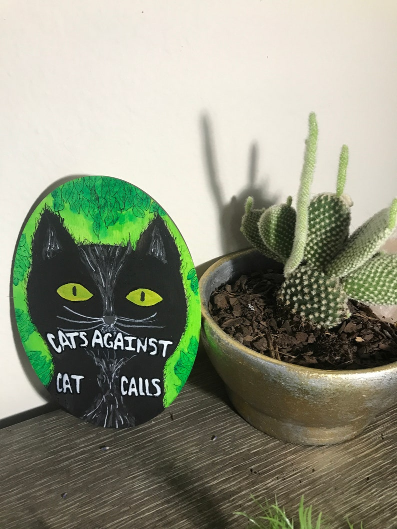 Cats Against Cat Calls  Oval Shaped Mixed Media Decor On Wood image 0