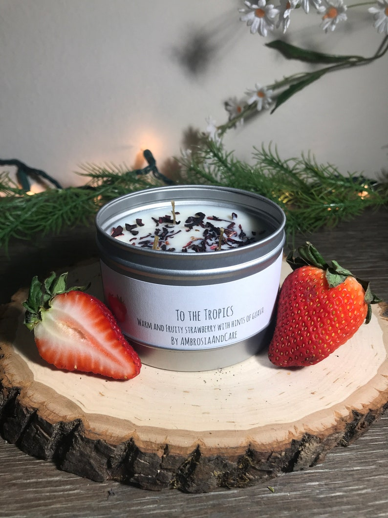 To the Tropics  Summer Soy Wax Candle  Strawberry Guava image 0