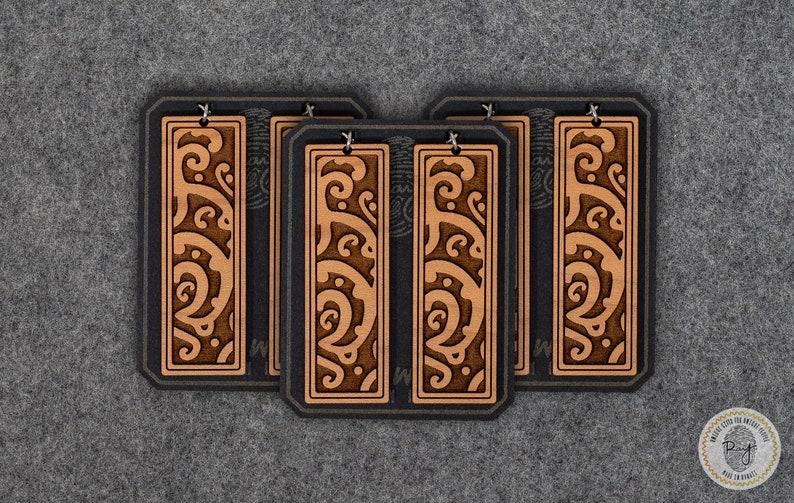 Koru Waves Wooden Earrings Long Rectangle Detailed Custom Laser Cut Wood Drop Handmade Jewelry Natural New Life Spiral Symbol