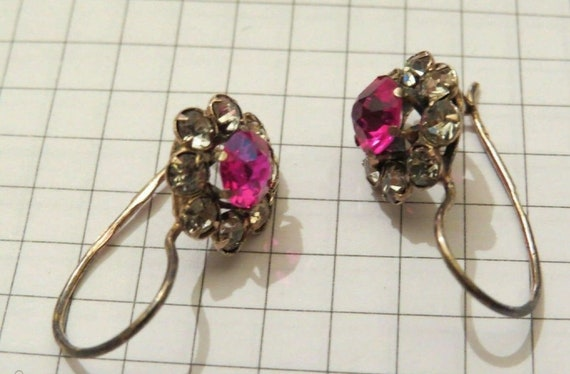 Leningrad Jewelry Factory. Vintage Soviet Russian 875 Silver Earring with Purple Rhinestone and Rock Crystals