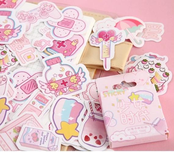 45 Pcs Pink Aesthetic Stickers Tumblr Sticker Pack Feminist Etsy