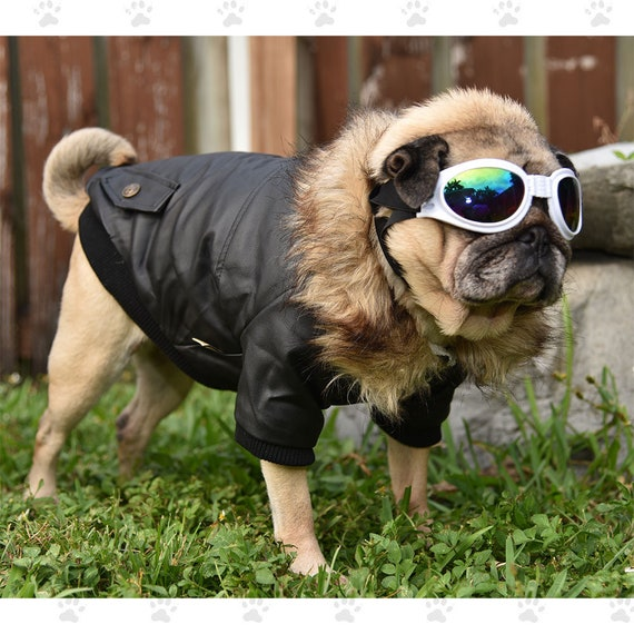 For Small /& Medium Sized Dogs SM-2XL Bomber Jacket Black or Wine Soft Furry Fleece Lining Snap Closures