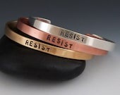 Resist Classic Stamped Cuff Bracelet - Brass, Copper, or Sterling Silver