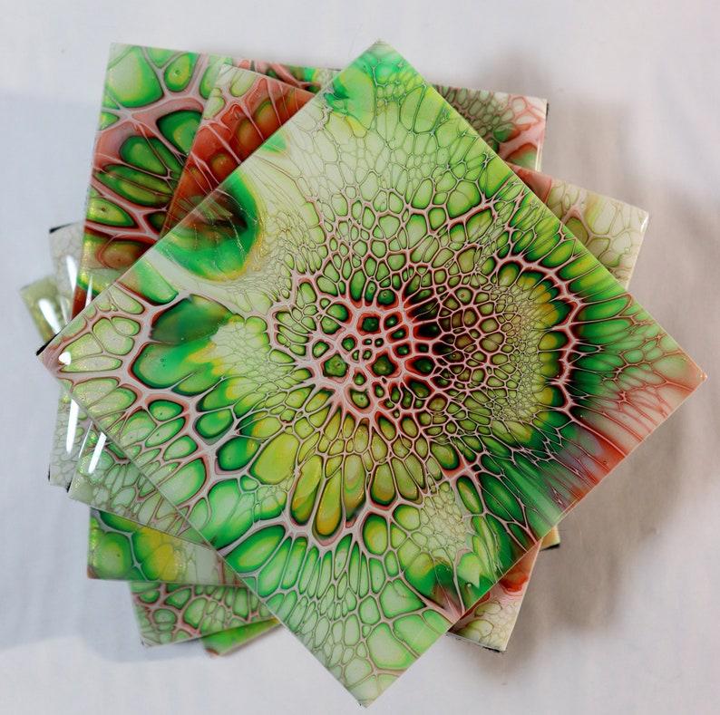 Free Shipping in US Resin Coaster Set of 6 on Ceramic Tile