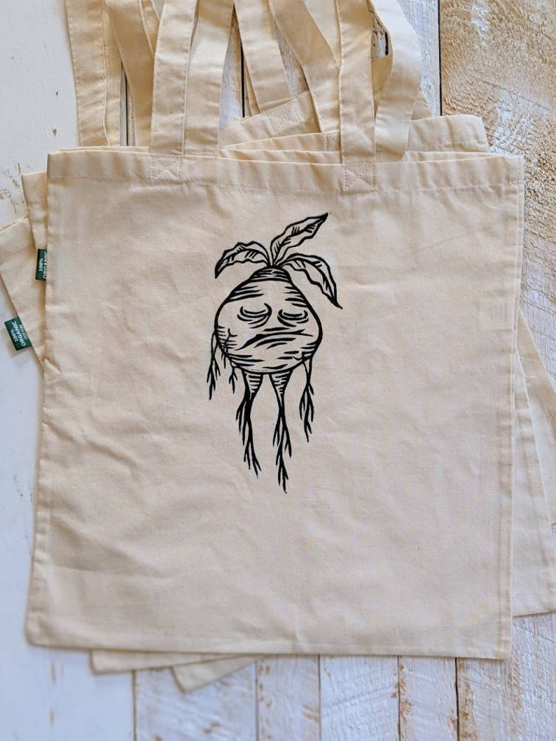 Hand Printed Grumpy Mandrake Tote Bag