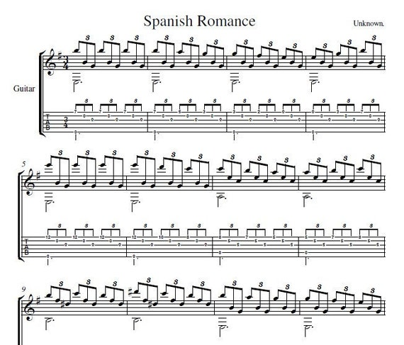 Spanish Romance (Sor's Melody) | Guitar Sheet Music + MP3 reference track |  Instant Digital Download
