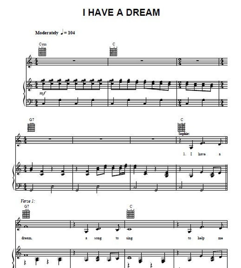 I Have A Dream Abba Piano Tutorial Guitar Sheet Music Instant Digital Download
