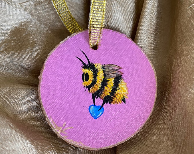 Featured listing image: Hand painted ornament, bee art, valentine art, valentines gift