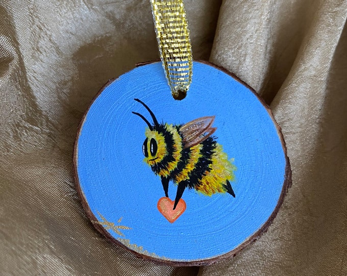 Featured listing image: Hand painted ornament, bee art, valentine art, valentine gifts