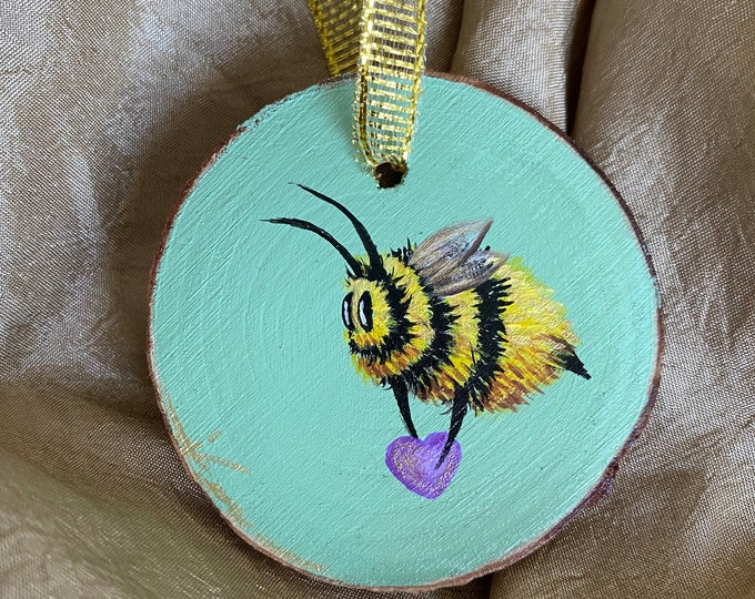 Featured listing image: Hand painted ornament, bee art, valentines art, valentines gift
