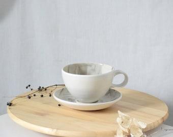 Alice Giant Teacup & Saucer // Cappuccino Mug // Large Teacup and Saucer