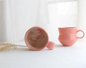 Geometric Marbled Mug (Satin Matte Rose with Gold) // Pink Mug